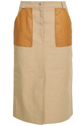 YVES SALOMON Leather-trimmed cotton-blend skirt