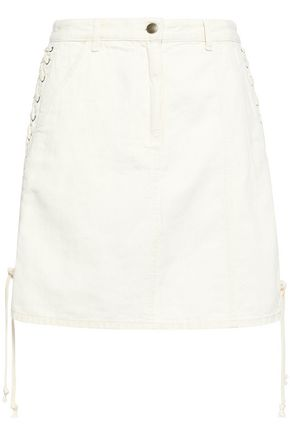 McQ Alexander McQueen Lace-up cotton and linen-blend denim mini skirt