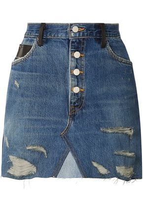 AMIRI Distressed denim and leather mini skirt