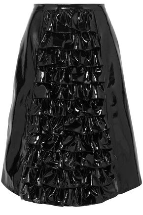 CHRISTOPHER KANE Ruffled patent-leather skirt