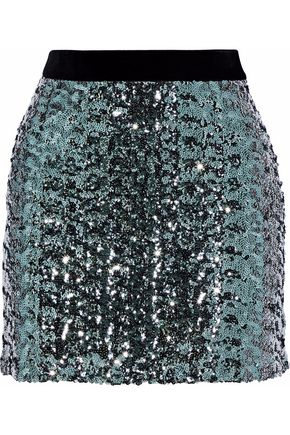 MILLY Modern velvet-trimmed sequined tulle mini skirt