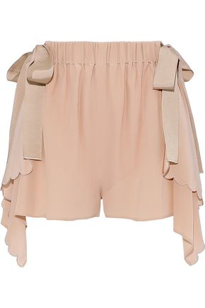 FENDI Bow-detailed scalloped silk crepe de chine shorts