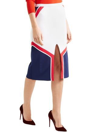 MUGLER Color-block intarsia-knit pencil skirt