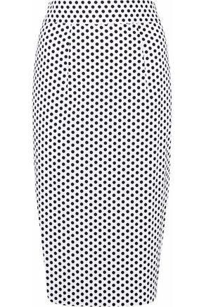 MILLY Polka-dot stretch-cotton poplin pencil skirt