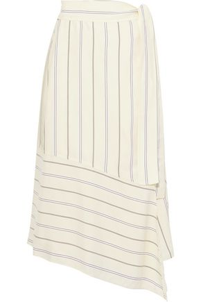 DEREK LAM 10 CROSBY Asymmetric striped satin-crepe midi wrap skirt