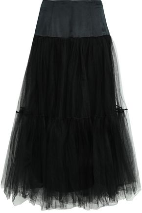 CINQ À SEPT Flared silk-satin and tulle midi skirt
