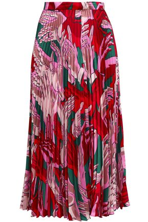 MARCO DE VINCENZO Pleated printed twill midi skirt