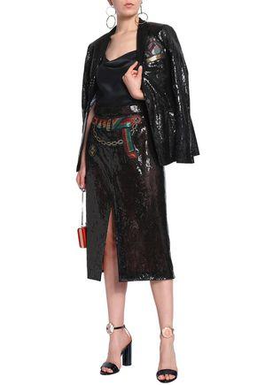 MARCO DE VINCENZO Sequined tulle midi pencil skirt