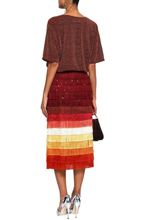 MARCO DE VINCENZO Embellished fringed color-block satin midi skirt