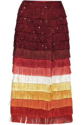 30a073a761 MARCO DE VINCENZO Embellished fringed color-block satin midi skirt