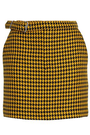 McQ Alexander McQueen Belted houndstooth wool mini skirt