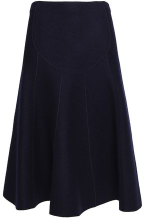 AGNONA Flared wool-crepe midi skirt
