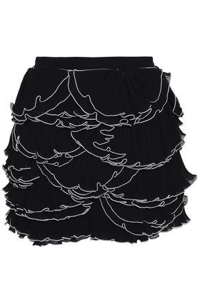 BOUTIQUE MOSCHINO Ruffled tiered georgette mini skirt