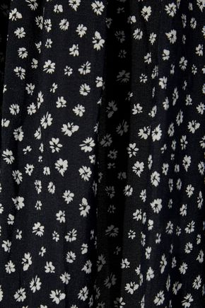 LOVE SAM Pleated printed washed-crepe midi skirt