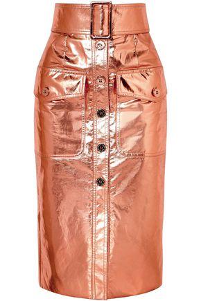 RALPH & RUSSO Metallic coated silk-blend skirt