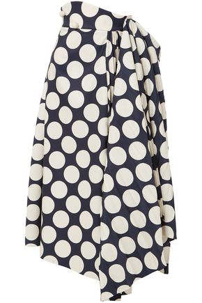 A.W.A.K.E. Draped pleated polka-dot twill midi skirt