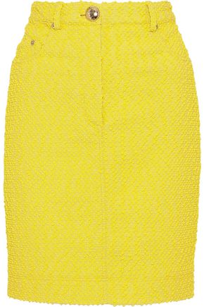 MOSCHINO Cotton-blend bouclé mini pencil skirt