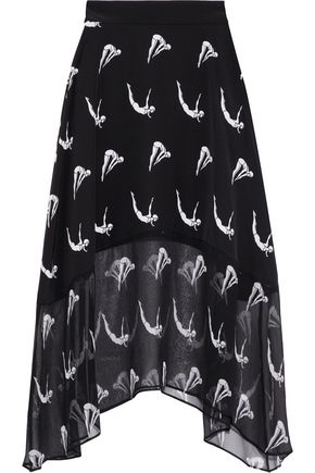 MARKUS LUPFER Renee printed silk and georgette midi skirt
