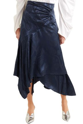 PETER PILOTTO Asymmetric satin-jacquard midi skirt