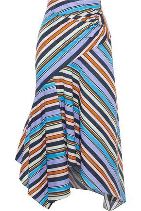 PETER PILOTTO Asymmetric pleated striped cotton-poplin midi skirt