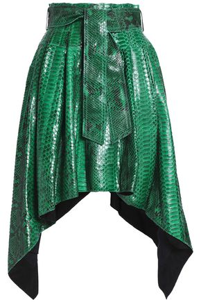 BALMAIN Asymmetric pleated python mini skirt