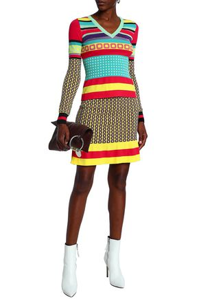 BOUTIQUE MOSCHINO Fluted jacquard-knit mini skirt