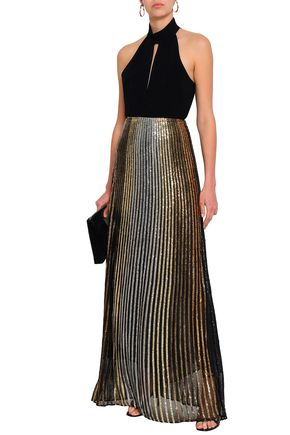 BALMAIN Embroidered silk maxi skirt