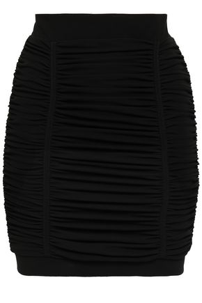 BALMAIN Ruched crepe mini skirt