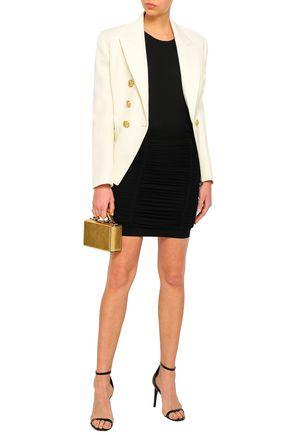 BALMAIN Ruched crepe mini skirt