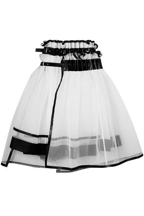 NOIR KEI NINOMIYA Asymmetric layered faux leather-trimmed tulle skirt