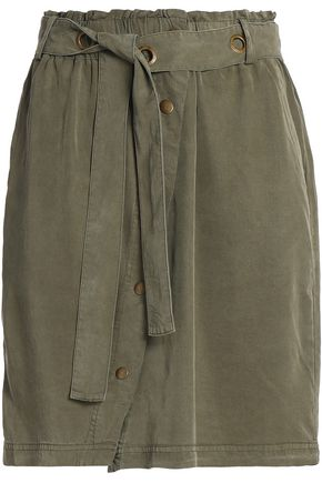 SPLENDID Mini skirts SPLENDID WOMAN EYELET-EMBELLISHED TWILL MINI SKIRT ARMY GREEN