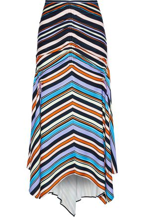 PETER PILOTTO Ruched striped stretch-jersey midi skirt