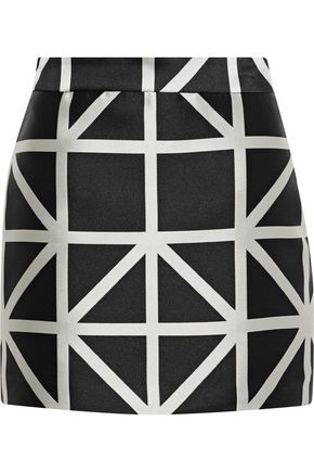 MILLY Modern satin-jacquard mini skirt