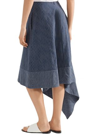 ADAM LIPPES Asymmetric striped cotton midi skirt