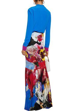 ROBERTO CAVALLI Floral-print stretch-crepe maxi skirt