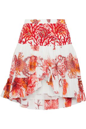 ROBERTO CAVALLI Embroidered tulle-paneled floral-print cotton and linen-blend mini skirt