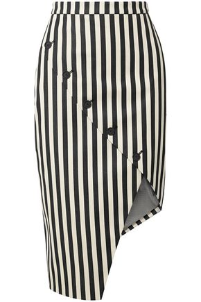 ALTUZARRA Paul Bert button-embellished striped stretch cotton-twill skirt