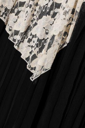 DEREK LAM 10 CROSBY Corded lace-paneled pleated gauze maxi skirt