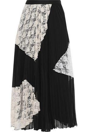 DEREK LAM 10 CROSBY Lace-paneled pleated chiffon midi skirt
