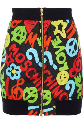 MOSCHINO Printed silk-twill mini skirt