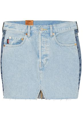 VETEMENTS x LEVI'S Two-tone distressed denim mini skirt