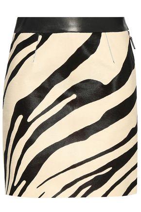 ROBERTO CAVALLI Leather-trimmed zebra-print calf hair mini skirt