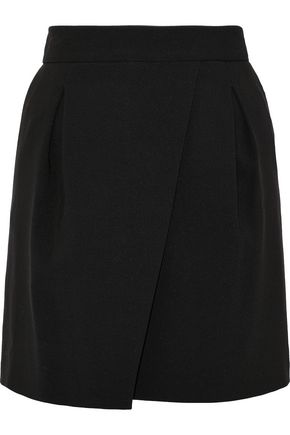HALSTON HERITAGE Pleated crepe mini skirt