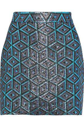 MILLY Modern metallic jacquard mini skirt