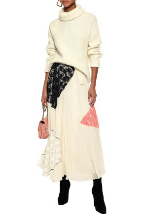 DEREK LAM 10 CROSBY Corded lace-paneled pleated gauze maxi skirt