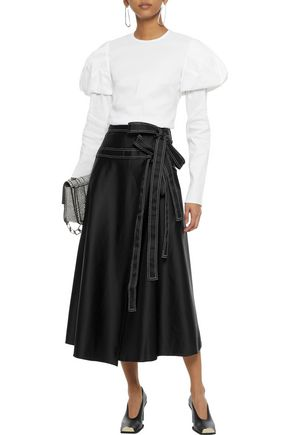 BEAUFILLE Ida satin midi wrap skirt