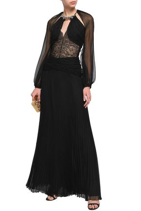 ROBERTO CAVALLI Ruched pleated silk-voile maxi skirt