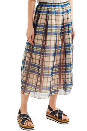 MARNI Organdie checked pleated cotton-organza midi skirt
