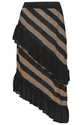 MARCO DE VINCENZO Metallic striped pointelle-knit skirt
