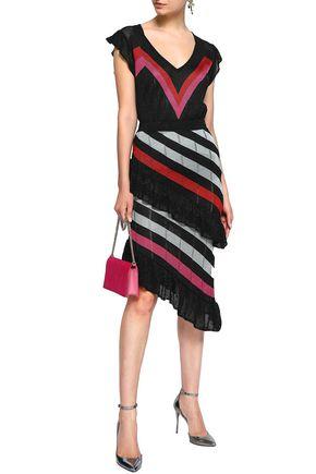 MARCO DE VINCENZO Metallic striped pointelle-knit skirt